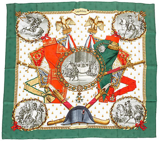 One Kings Lane Vintage Hermes Green Napoleon Silk Scarf - Vintage Lux