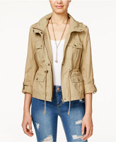 American Rag Mixed-Media Hooded Utility Jacket, Only at Macy's