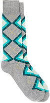 Barneys New York MEN'S ARGYLE COTTON-BLEND MID-CALF SOCKS