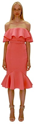 Badgley Mischka Off-the-Shoulder Fitted Scuba Dress with Flare Hem (Paprika) Women's Clothing