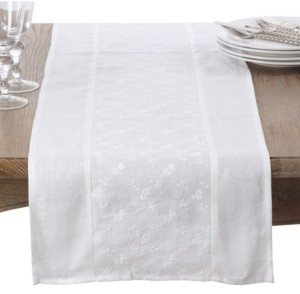 Saro Lifestyle Embroidered Floral Design Linen Table Runner