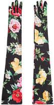 Dolce & Gabbana Floral-print Stretch-jersey Gloves - Black