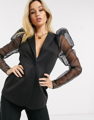 ASOS DESIGN jersey long line blazer with organza sleeves