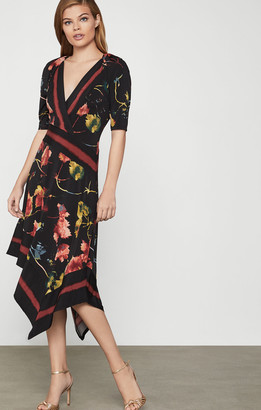 BCBGMAXAZRIA Floral Asymmetric Faux Wrap Dress