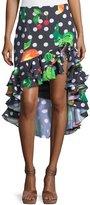 Caroline Constas Polka-Dot Fruit-Print Ruffled High-Low Skirt
