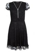 Select Fashion Fashion Womens Black Lace Zip Insert Skater Dress - size 12