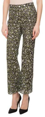 Altuzarra Dante Sequined Floral-Embroidered Silk Flare-Leg Pants, Black