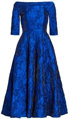 Talbot Runhof Iridescent Rose Jacquard Mockneck A-Line Cocktail Dress