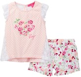 Betsey Johnson Polka Dot Top & Floral Ruffle Short Set (Toddler Girls)