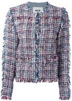 MSGM denim & tweed jacket - women - Cotton/Polyamide/Polyester/Virgin Wool - 40