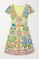 Alice + Olivia Hadley Floral-print Crepe De Chine Mini Dress