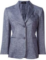 Theory denim effect single breasted blazer - women - Linen/Flax/Polyester/Spandex/Elastane/Viscose - 6