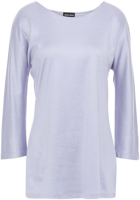 Giorgio Armani Mulberry Silk And Cotton-blend Jersey Top