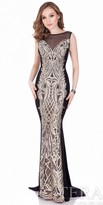 Terani Couture Metallic Embroidered Column Evening Gown