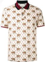 Gucci elephant print polo shirt