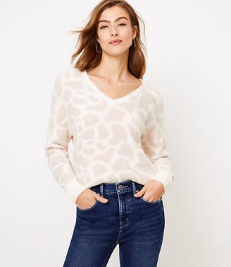 LOFT Petite Animal Spotted V-Neck Sweater