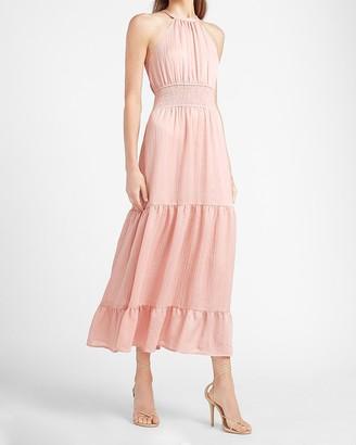 Express Tiered Smocked Waist Halter Neck Maxi Dress