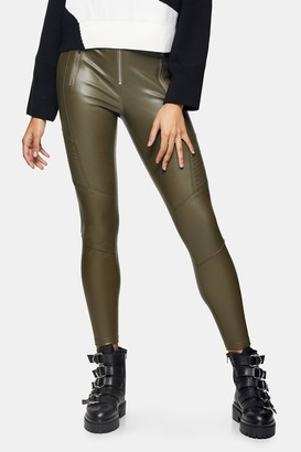 Topshop Khaki Faux Leather Biker Leggings