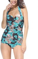 uxcell® Women 1-Piece Swimwear Floral Pin Up Monokinis US 14 Bathing Suit