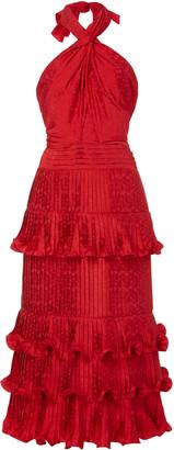 Johanna Ortiz Ruffled Floral-Satin Jacquard Halterneck Midi Dress