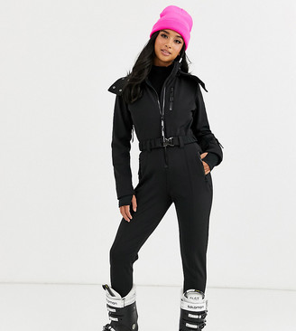 Asos 4505 4505 Petite ski fitted belted ski suit with faux fur hood-Black