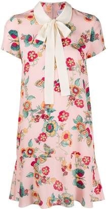 RED Valentino butterfly and flowers print short dress