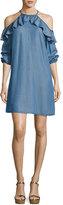 MICHAEL Michael Kors Cold-Shoulder Ruffled Chambray Dress