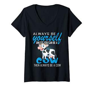 Womens Cute Cow Always Be Yourself Funny Holiday Adults Kids Gift V-Neck T-Shirt
