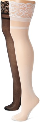 MUSIC LEGS Women's Petite 2 Pack Backseam Sheer Thigh Hi with Lace Stripe Top