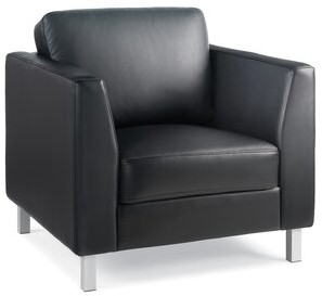 Steelcase Lincoln Leather Lounge Chair Leather Color: Turnstone Leather - Black