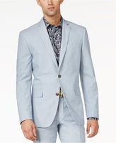 Bar III Light Blue Chambray Solid Cotton Slim-Fit Jacket, Only at Macy's
