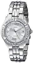 GUESS Women's G75511M Sporty Silver-Tone Stainless Steel Multi-Function Watch with Date Dial and Deployment Buckle
