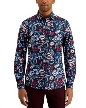Paisley & Gray Men's Limited Edition Spread Collar Winterberry Print Shirt