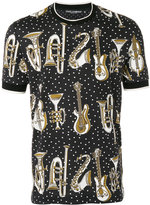Dolce & Gabbana musical instrument print T-shirt - men - Silk/Cotton - 46