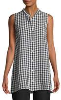 Eileen Fisher Sleeveless Organic Linen Gingham Tunic Shirt, Plus Size