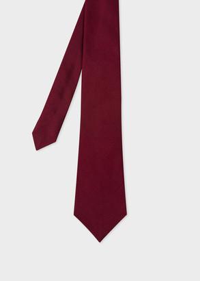 Paul Smith Men's Dark Burgundy Silk Tie With Polka Dot Lining