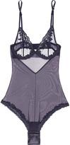 La Perla Morgane Embroidered Stretch-tulle Bodysuit - Indigo