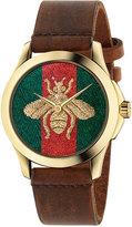 Gucci Unisex Swiss G-Timeless Brown Leather Strap Watch 38mm YA126451