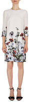 Erdem Emma 3/4-Sleeve Floral-Print Dress, White/Red
