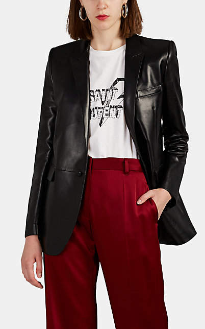 Saint Laurent Women's Leather One-Button Blazer - Black