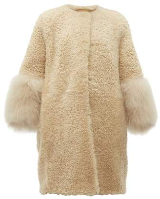 Prada Collarless Shearling Coat - Womens - Beige Multi