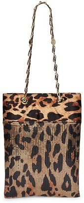 Paco Rabanne Pixel Leopard-Print Leather & Mesh Tote