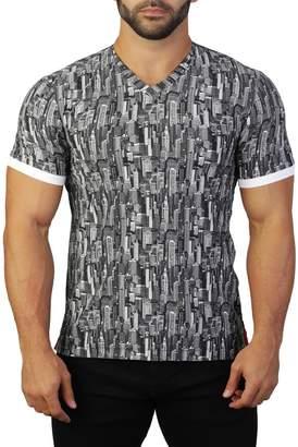 Maceoo Vivaldi V-Neck Building Print T-Shirt