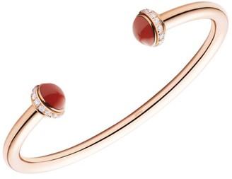 Piaget Possession 18K Rose Gold, Carnelian & Diamond Open Bangle Bracelet