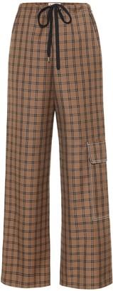 Marni Checked virgin wool wide-leg pants