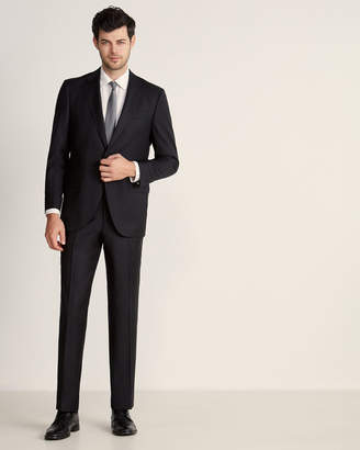 Luigi Bianchi Mantova Zegna Fabric Suits By Two-Piece Black Solid Serge Wool Suit