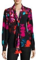 Trina Turk True Floral Silk Chiffon Tie-Neck Top, Black