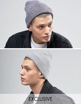 Reclaimed Vintage Inspired Oversized Beanie 2 Pack Grey Marl/purple Marl