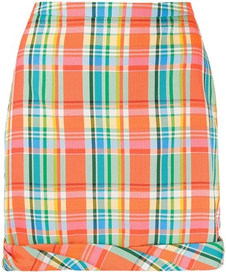 REJINA PYO Rolled Hem Checked Skirt