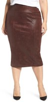 Melissa McCarthy Plus Size Women's Stretch Faux Leather Pencil Skirt